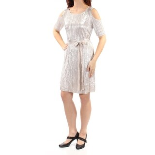 Womens Silver Short Sleeve Above The Knee Sheath Party Dress Size: 8