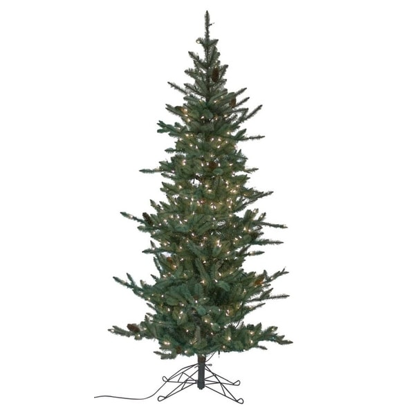 "7' x 44"" Pre-Lit Slim Pine Artificial Christmas Tree – Warm White Lights - CLEAR"