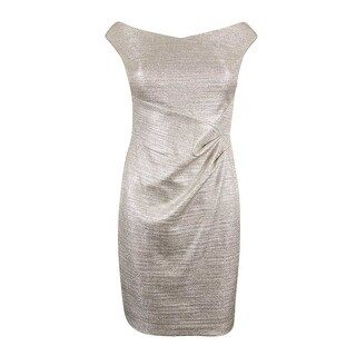 Lauren Ralph Lauren Women's Petites Metallic Foil Sheath Dress - Silver Metallic
