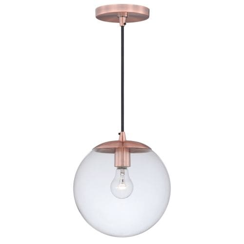 Vaxcel Lighting P0165 630 Series Single Light Pendant with Globe Shaped Clear Glass Shade