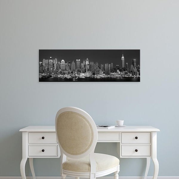 Easy Art Prints Panoramic Image 'New York City, West side skyline (Black And White)' Canvas Art