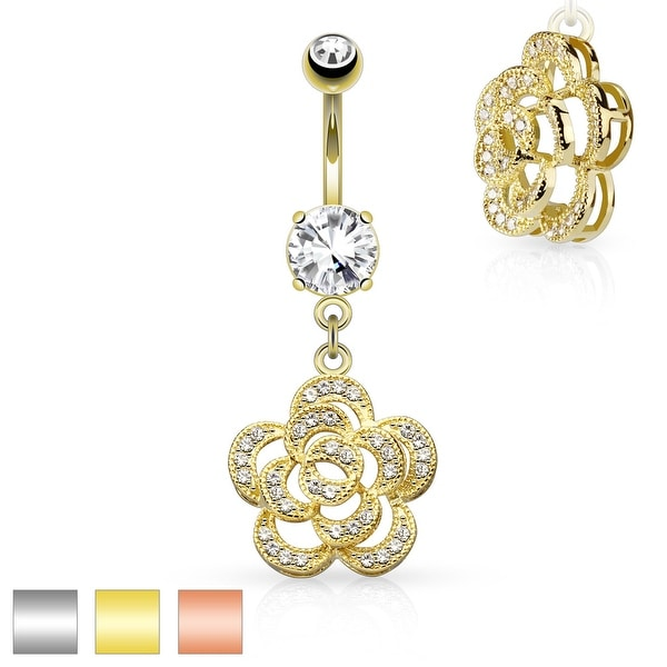 Micro Pave CZ Petals Camellia Dangle Surgical Steel Belly Button Navel Ring - 14GA (Sold Ind.)