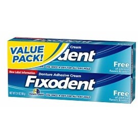Fixodent Denture Adhesive Cream Free, Value Pack 2.4 oz 2ea