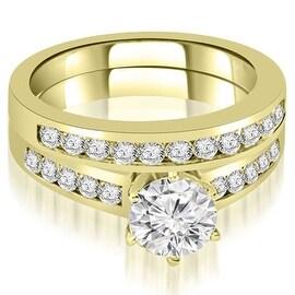 1.15 cttw. 14K Yellow Gold Channel Set Round Cut Diamond Bridal Set