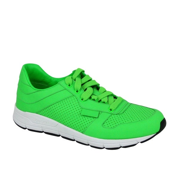 Running Neon Green Leather Lace
