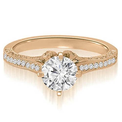 1.00 cttw. 14K Rose Gold Round Cut Diamond Engagement Ring