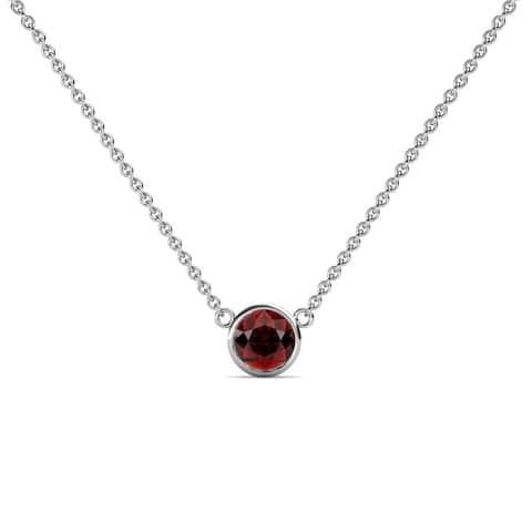 TriJewels Gemstone Bezel Set Women Solitaire Pendant Necklace 14K Gold