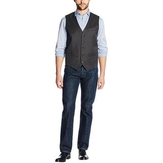 Perry Ellis Vest Dark Grey Large L Travel Luxe Wrinkle Recovery Button-Front