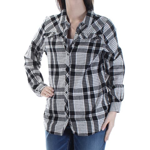 BASS Womens Ivory Plaid Cuffed Collared Button Up Top Size: S