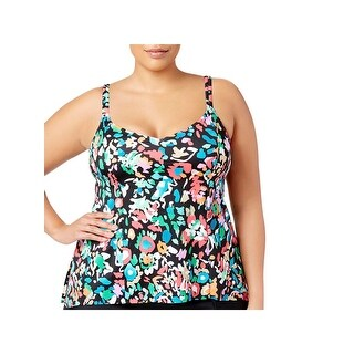 Swim Solutions Womens Plus Floral Print Adjustable Straps Swim Top Separates