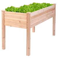 Costway Wooden Raised Vegetable Garden Bed Elevated Planter Kit Grow Gardening Vegetable - Wood