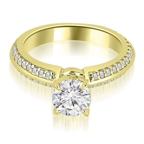 1.05 cttw. 14K Yellow Gold Knife Edge Round Cut Diamond Engagement Ring