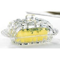 Palais Glassware Glass 'Beurre' Collection Butter Dish (Square Cut Design)