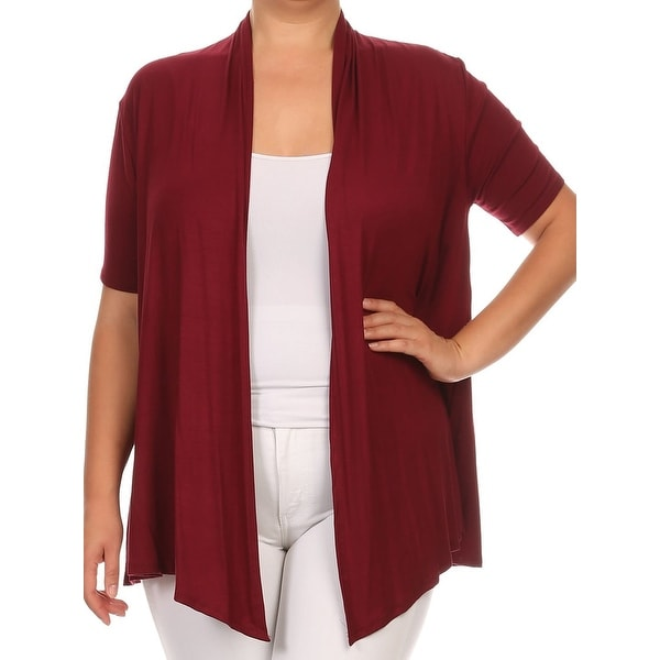 Shop Women Plus Size Short Sleeve Jacket Casual Cover Up Maroon