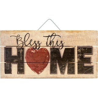"Highland Woodcrafters 12""X6"" Wood Slatted Sign-Bless This Home"
