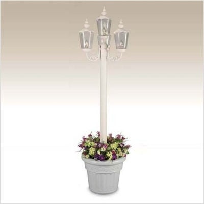 Charming Patio Living 00431Cambridge Park Style Four Light Plug In Outdoor Post  Lantern With Planter