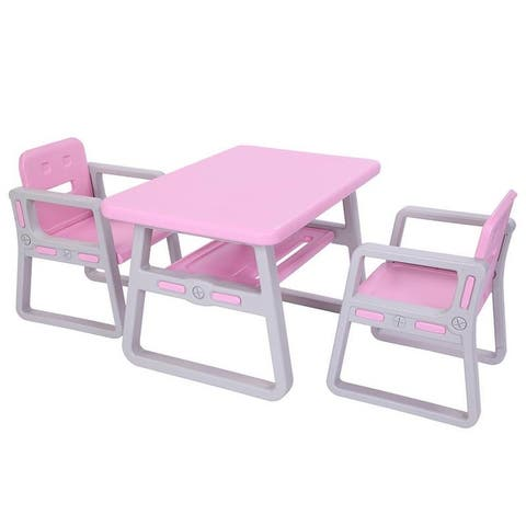 Toddler Activity Kids Table and Chairs Set Pink and Blue