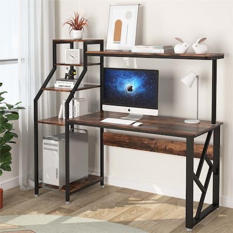 Computer Desk with 4-Tier Storage Shelves & Hutch