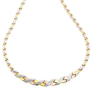 Just Gold Graduating 'X' Link Necklace in 10K Three-Tone Gold
