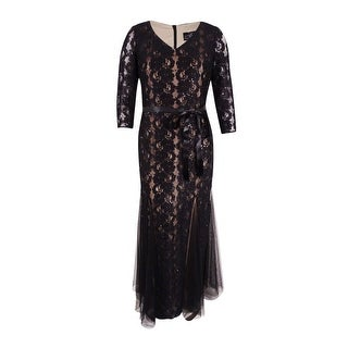 Alex Evenings Women's Plus-Size Belted Sequin Lace Gown - Black/nude