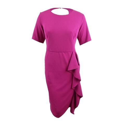 Rachel Rachel Roy Women's Plus Size Ruffled Scuba Crepe Dress (20W, Wildberry) - Wildberry - 20W