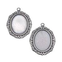 Antiqued Silver Plated Scrolled Oval Bezel Stampings 14x18mm X2
