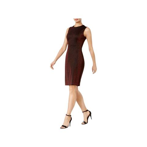 be7e5351e0 Calvin Klein Womens Cocktail Dress Metallic Sleeveless