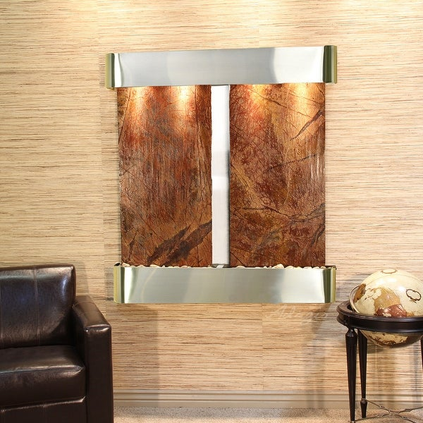 Adagio Aspen Falls Fountain with Stainless Steel Finish and Rounded Edges - Multiple Colors Available