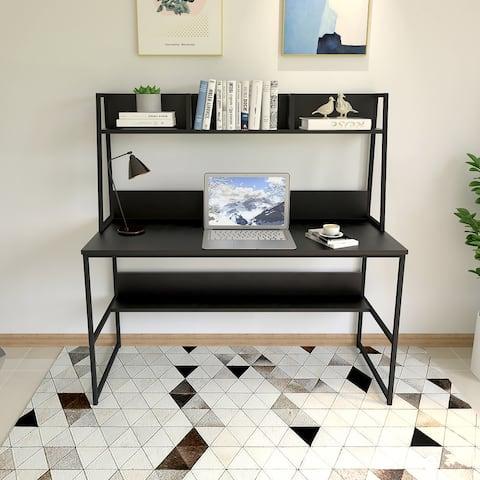 Home Office Computer Desk - Modern Study Writing Desk with Hutch/Bookshelf, Space Saving Design - Black/Walnut