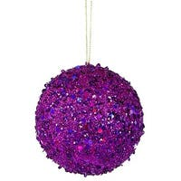 4 in. Fancy Purple Holographic Glitter Drenched Christmas Ball