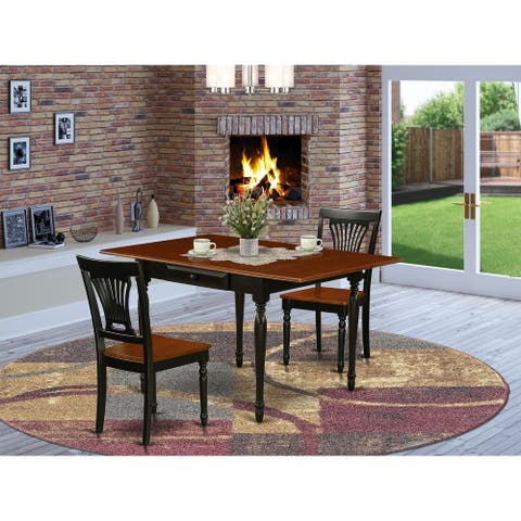 Drop Down Leaves Dining Table and Hardwood Seat Kitchen Dining Chairs (Number of Chairs Option)