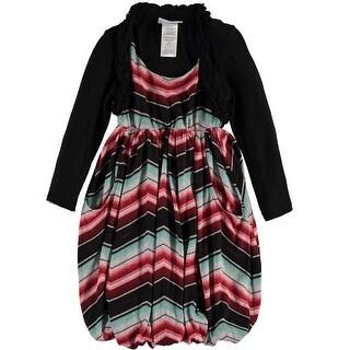 Bonnie Jean Girls 7-16 Chevron Bubble Cardigan Dress - Black