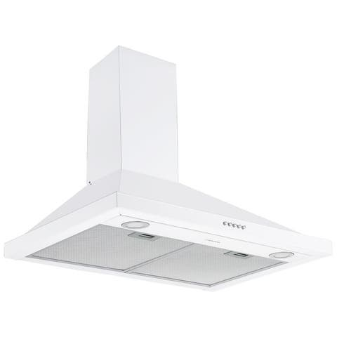 Ancona 30 in. Convertible Wall-Mounted Pyramid Range Hood in White