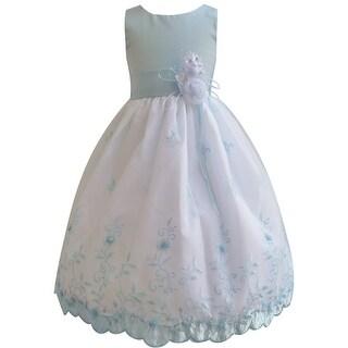 Strap Bodice, Embroidered Dresses - White