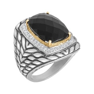 15 ct Onyx and 3/8 ct Diamond Ring in Sterling Silver and 14K Gold - Black