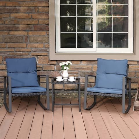 COSIEST Outdoor Bistro Rocking Chair Set with Cushions