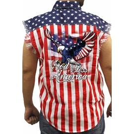 Men's Biker USA Flag Sleeveless Denim Shirt God Bless America Stars & Stripes