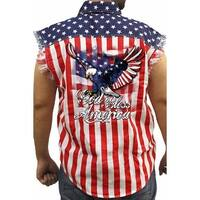 Men's Biker USA Flag Sleeveless Denim Shirt God Bless America Stars & Stripes