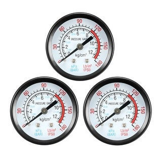 "Pressure Gauge , 0-180 PSI/0-20 BAR Dual Scale 1.8"" Dial Display , 1/8"" NPT 3pcs"