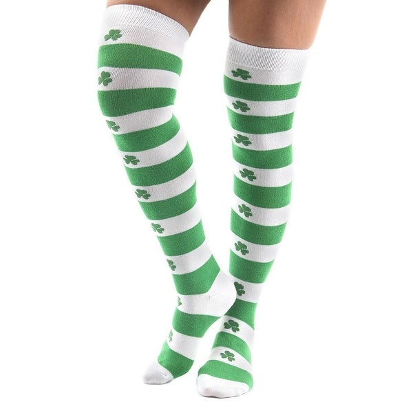 St. Patrick's Day Shamrock Knee High Socks Costume Accessory Adult - One Size - Green
