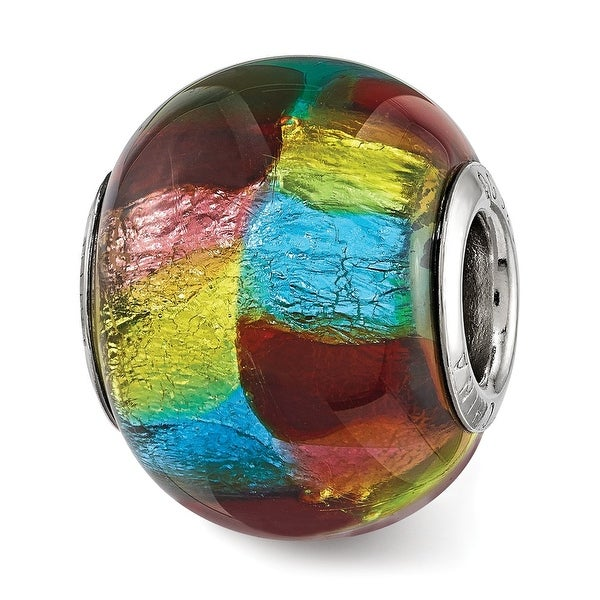 Sterling Silver Reflections Multi-colored Metallic Glass Bead (4.5mm Diameter Hole)
