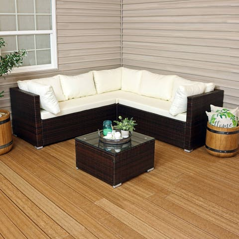 Sunnydaze Port Laoise Rattan Sectional Sofa Patio Furniture Set with Cushions