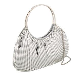 Scheilan Silver Metal Mesh Crystal Embellished Clutch - 12-5-1