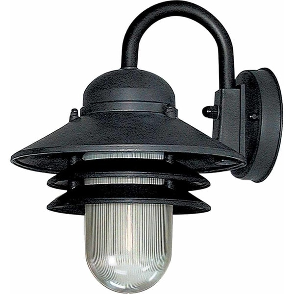 """Volume Lighting V9725 Nautical Outdoor 1-Light 10"""" Height Outdoor Wall Sconce with Clear Prismatic Polycarbonate"""