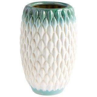 "Cyan Design 09087  Verdant Sea 6-1/2"" Diameter Ceramic Vase - Green / White Glaze"