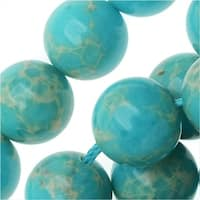Impression Jasper Gemstone Beads, Round 10mm, 15 Inch Strand, Aqua Blue