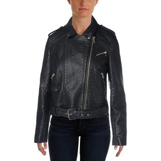 French Connection Womens Faux Leather Asymmetric Motorcycle Jacket