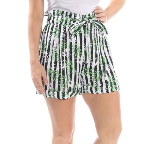 XOXO Womens Green Paper Bag Striped Leaf Print Short Juniors Size: XL