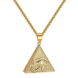 Evil Eye Pyramid Designer Pendant Box Necklace Stainless Steel Charm Mens Classy