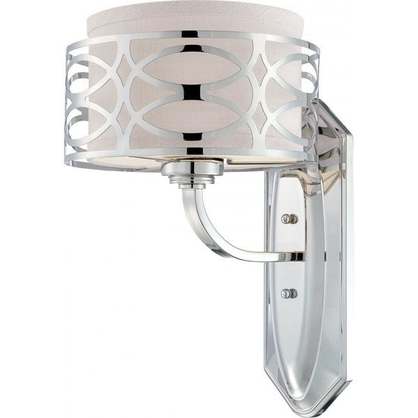 "Nuvo Lighting 60/4621 Harlow 1-Light 8-7/8"" Wide Bathroom Sconce with Woven Fabric Shade and Metal Accent - Polished Nickel"